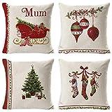 UMIPUBO - 4 fundas de almohada, de lino de algodón, fundas de cojín, dibujo animado, decoración de Navidad, 45 x 45 cm para coches, sofás