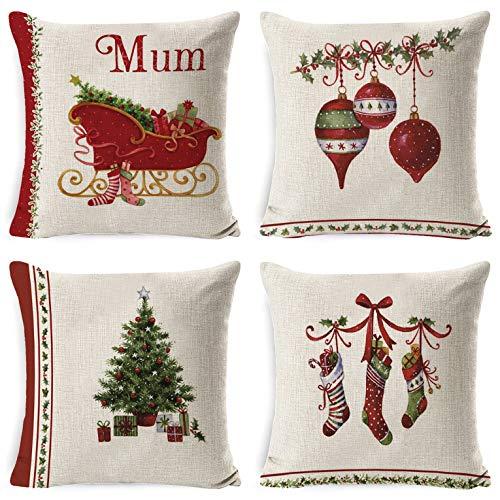 UMIPUBO 4 fundas de almohada de lino de algodón, fundas de cojín, diseño animado, decoración de Navidad, 45 x 45 cm para coches, sofás