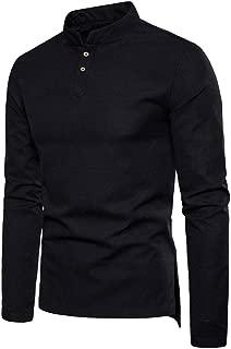 Qiyun Autumn Shirt Men Long Sleeve Shirt Buttons Stand Collar Slim Solid Color Cotton Linen Tops