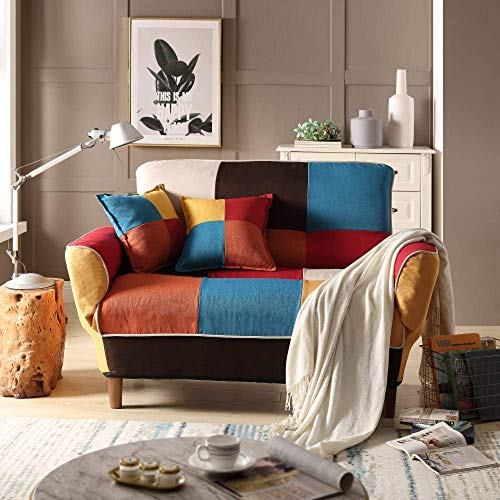 Merax Contemporary Multicolor Loveseat Adjustable Split Back Futon Upholstered Foldable Sofa Couch Sleeper Sofa Bed with 2 Free Pillows, Cotton Linen Fabric Loveseat