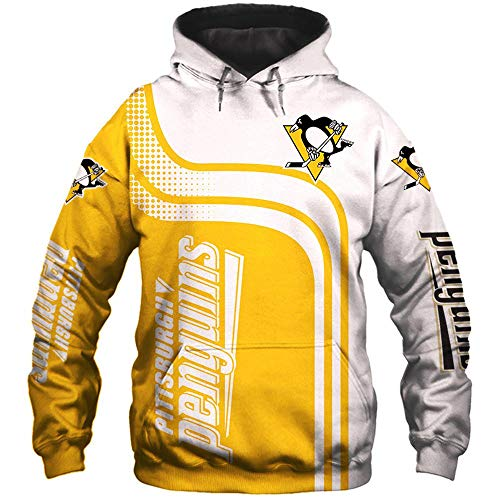 LIULL Herren Hoodie Pullover NHL Pittsburgh Penguins 3D Digital Sweatshirt Druck Baseball Uniform Sport-Jacke A-XXL
