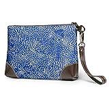 Yushg Borsa da polso clutch morbida e impermeabile Bellissima borsa in pelle blu corallo in pochette con cerniera per le ragazze delle donne