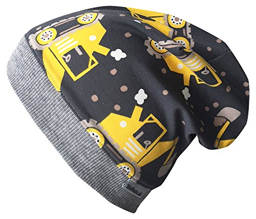 Wollhuhn Beanie-Mütze Bagger grau/gelb, für Jungen und Mädchen, 20171001, Größe M: KU 51/53 (ca 3-5 Jahre)