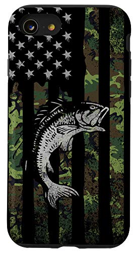 iPhone SE (2020) / 7 / 8 Camo Fishing American Flag Bass Fish Men, Boys - Manly Phone Case