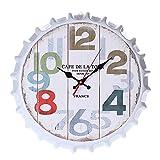 PQZATX Vintage Retro Metal Grande de Talla Extra Grande 3D Reloj de Pared con Tapa de Botella Silencioso Relojes de Movimiento de Cuarzo para Decoración de Oficina de Casa 5#