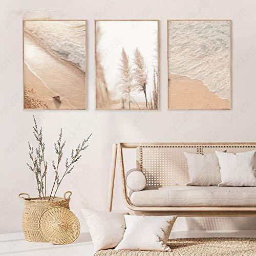 HXLZGFV Bohemia Pampas Grass Coastal Wall Art Print Warm Boho Style Pink Beach Wave Canvas Painting Poster Prints for Bedroom Home Decor-40x50cmx3pcs-No Frame