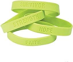 OTC 25 Lime Green Awareness Sayings Bracelets, Lymphoma, Lyme Disease, Muscular Dystrophy, Mental Health