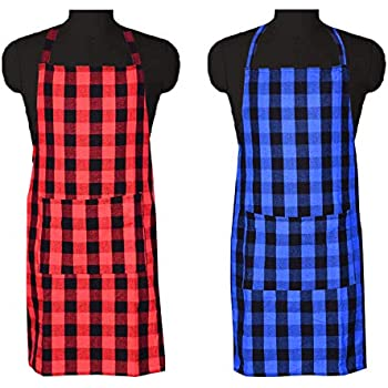 COMFORT WEAVE 100% Cotton Kitchen Apron Free Size - 65 X 80 cms with Front Centre Pocket (Pack of 2 Pieces)
