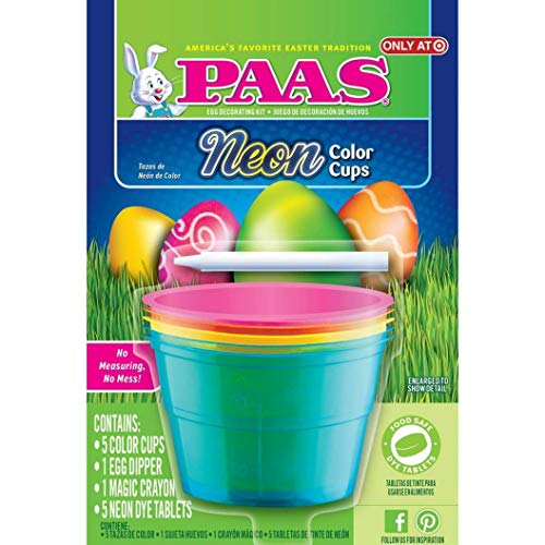 PAAS Easter Egg Dying & Decoration Cup Kit with Magic Crayon and Egg Dipper (Neon Easter Egg Dyeing, Coloring & Decoration Cup Kit)