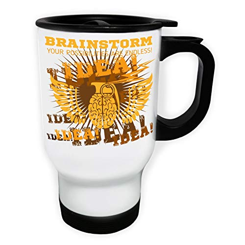 Brainstorm Idea Endless Possibilities Tasse de voyage thermique blanche 14oz 400ml ee996tw