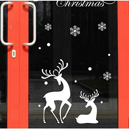 Doe-het-zelf PVC muursticker winkel venster vitrine display kerst decoratie muur raamstickers sneeuwvlok & hert patroon