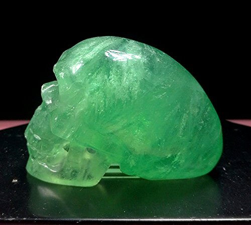 2.1'Hand Carved Natural Gemstone Carving Hollow E.T Alien Skull Statue Figurine Collectible 52mm(Green Fluorite Alien Skull)
