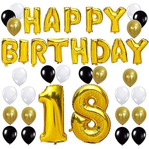 KUNGYO Letras Tipo Balón Doradas Happy Birthday+Número 18 Mylar Foil Globo+24 Piezas Negro Oro Blanco Globo de Látex 18 Años de Antigüedad Fiesta de Cumpleaños Decoraciones