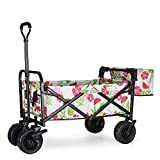 """WHITSUNDAY Collapsible Folding Garden Outdoor Park Utility Wagon Picnic Camping Cart with Fat Wheel Bearing and Brake (Standard Size(Plus+) 8"""" Heavy Duty Wheels, Summer)"""
