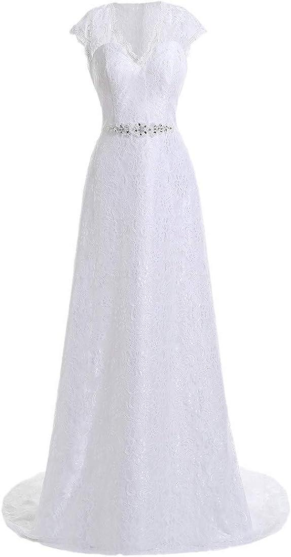 yipeisha V Neckline A Line Cap Sleeve Lace Over Satin Wedding Dress