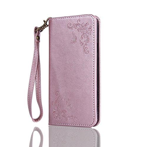 ISAKEN Huawei G8 Hülle, PU Leder Brieftasche Wallet Hülle Cover Ledertasche Handyhülle Tasche Schutzhülle mit Handschlaufe Standfunktion für Huawei G8 / Huawei GX8 - Rose Schmetterlinge Rosegold