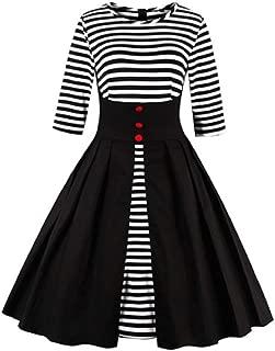 KCatsy Women Round Collar A-Line Half Sleeves Buttons Stripe Big Pendulum Dress