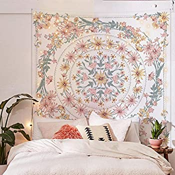 Simpkeely Mandala Floral Medallion Tapestry Sketched Flower Plant Boho Wall Hanging Bohemian Hippie Tapestries for Bedroom Living Room Dorm Home Décor 59.1 x 80 Inches  RosyBrown