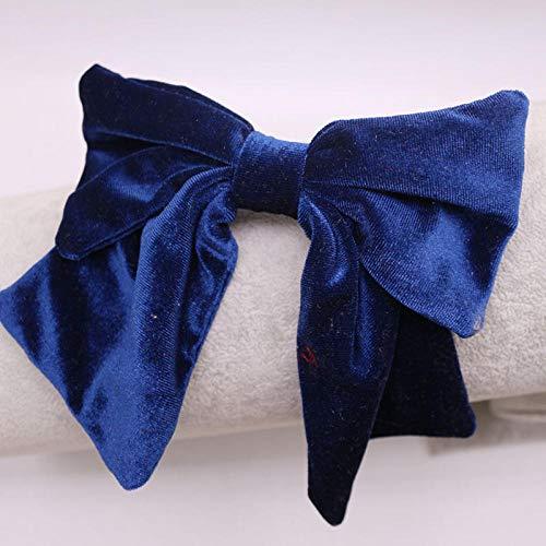 Tony plate Accessoires pour Cheveux Vintage Velours De Bohème Big Bow Barrette Double Couche Bow Épingle À Cheveux Cheveux Accessoires Tête Usure-Bleu Marin