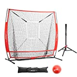 Pinty Baseball and Softball Practice Net 5×5ft Portable Hitting Batting Training Net with Target Zone Bundle, Weighted Training Balls and Carry Bag