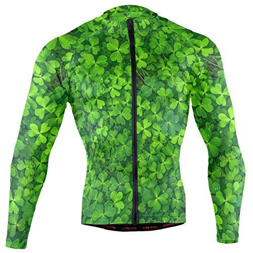DerlonKaje St Patrick's Day Shamrock Men's Cycling Jersey Long Sleeve Breathable Biking Shirts Gear Style