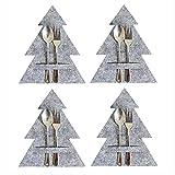 4 Stück Bestecktasche Weihnachten Besteckhalter Weihnachtsbaum Besteck Steht Geschirrhalter Filz, Besteckbeutel Tischdeko Weihnachtsschmuck Serviettentasche Weihnachtsdeko