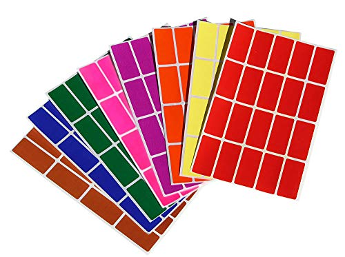 Etiketten Bunt 40 mm x 19 mm Aufkleber - 4 cm x 1,9 cm viereckige Sticker 640 Stück von Royal Green