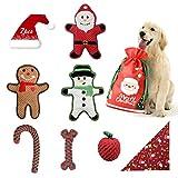 bellabailey Welpenspielzeug Weihnachten-Set (7er Pack) für Welpe/Kleine Hunde - 3 Quietschspielzeug, 3 Seile und 1 Hundebandana - Weihnachtsmann & Schneemann Set