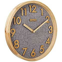 JIYUERLTD 12 inches Silent Non-Ticking Quartz Wall Clock Kitchen Clock,3D Wood Numbers Display,Wood Frame and Linen Face Clock for Home Office Classroom School (Natural Wood+Gray Linen)