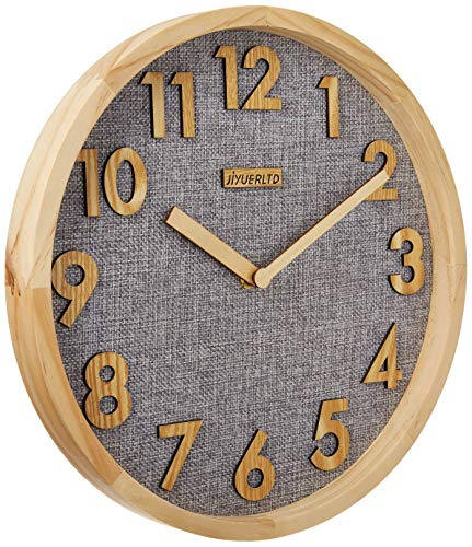 JIYUERLTD 掛け時計 壁掛け 時計 掛け時計おしゃれ ウッド フレーム リネン フェイス クロック ホーム オフィス 教室 学校用. 12インチ ナチュラル ウッド + グレー リネン