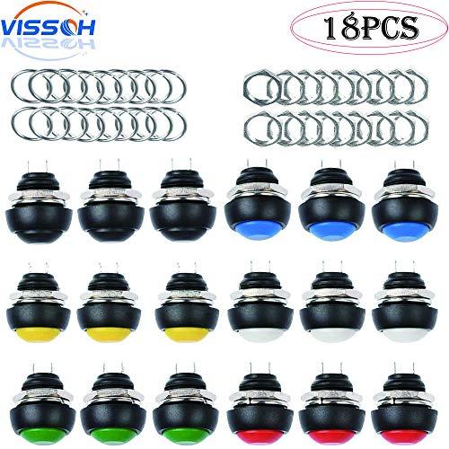 VISSQH 18 Stücke 12mm Mini Momentary Push Button Schalter Wasserdicht Momentanen Druckschalter 3A 125V Drucktastenschalter Ein-Aus Taster Rund Drucktaster für Arduino/DIY (6 Farben)