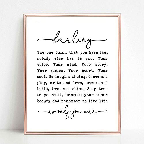 Darling, The One Thing You Have That Nobody Else Has is You, Nursery Print, Gift for Daughter, Children Decor, Girl's Room Decor, Nursery Quotes, 8x10 inch No Frame