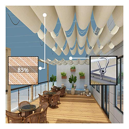LJIANW Sun Shade Sail, Wave Sail Shade Retractable Pergola Cover Sunscreen Heat Insulation for Roof Glass Room Terrace Balcony, Thickened Polyethylene (Color : Beige, Size : 0.7x6m)