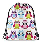 BXBX Plegable Bags Colorful Cartoon Funny Owls Drawstring Tote Bag Cinch Gym Bags Storage Backpack