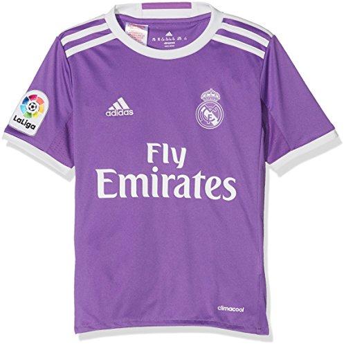 adidas JSY Y Camiseta 2ª Equipación Real Madrid CF 2015/16, Niños, Violeta/Blanco, 9-10 años