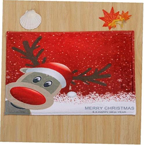 Coral Velvet Feliz Navidad Felpudo Bienvenido felpudos Interiores Alfombras Decoración de Navidad Decoración...