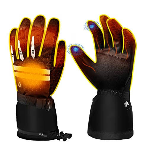 EEIEER Guanti Riscaldati per Uomo Donna, Guanti Riscaldati Ricaricabili 7,4V 5000mAh 5 modalità di Riscaldamento Guanti Invernali Caldi Impermeabili Touch Screen, Adatti per Moto Sci