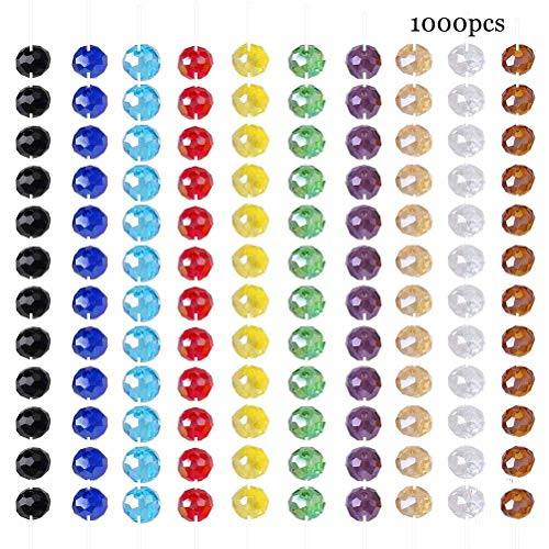 Perlas Vidrio,1000 Pack 6mm Redondo Colorido Perlas