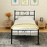 Aingoo Metallbett mit Kopfteil Bettgestell 90 x 190 cm Einzelbett mit Lattenrost für Gästezimmer Schlafzimmer Bett In Schwarz Herz Symbol Muster
