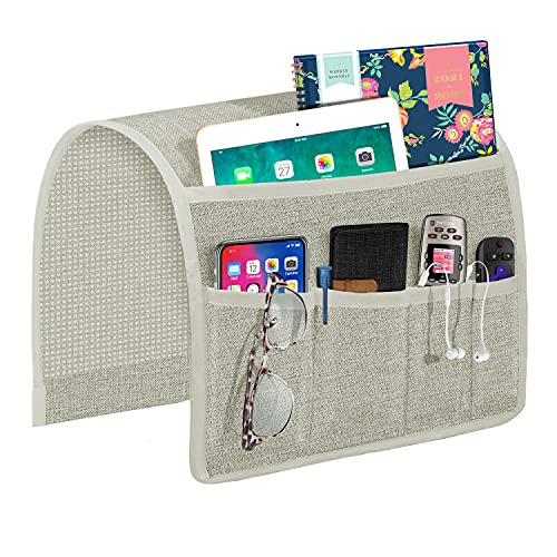 Joywell Organizador de reposabrazos de sofá, soporte para mando a distancia para sofá reclinable, con 5 bolsillos para revista, tableta, teléfono, iPad, gris plateado