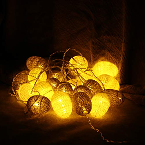 LEDMOMO 3,2 M 20 LED Natale String Egg Lights Party Charistmas Giardino di casa Decorazione cortile (serie bianca e grigia Warm White)