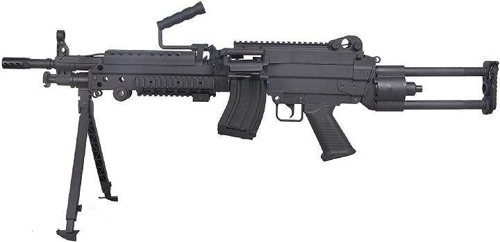 Fucile softair minimi aeg nylon fiber e metallo/colore nero/elettrico (0,5 joule) -semi/full automatic  m249 B07YZRT94C