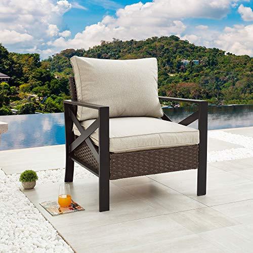 LOKATSE HOME Outdoor Patio Furniture Modern Wicker Sofa Chair Rattan Conversation Single Armchair with Cushion, Brown