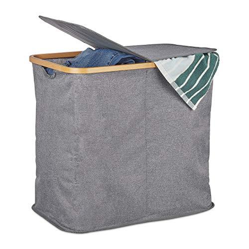 Relaxdays Panier tissu bambou, Coffre pliable, Corbeille à linge, 2 compartiments, 74 L, gris, polyester, One size