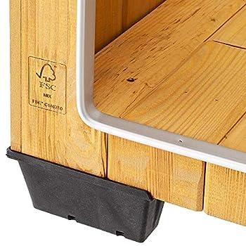 Ferplast Niche pour chiens Maisonnette BAITA 100 en bois FSC, Pieds isolants en plastique, Porte anti-morsures en aluminium, Toit ouvrant