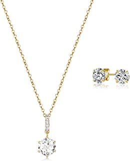 Mestige Necklace and Earrings For Women , Gold - MSSE3301