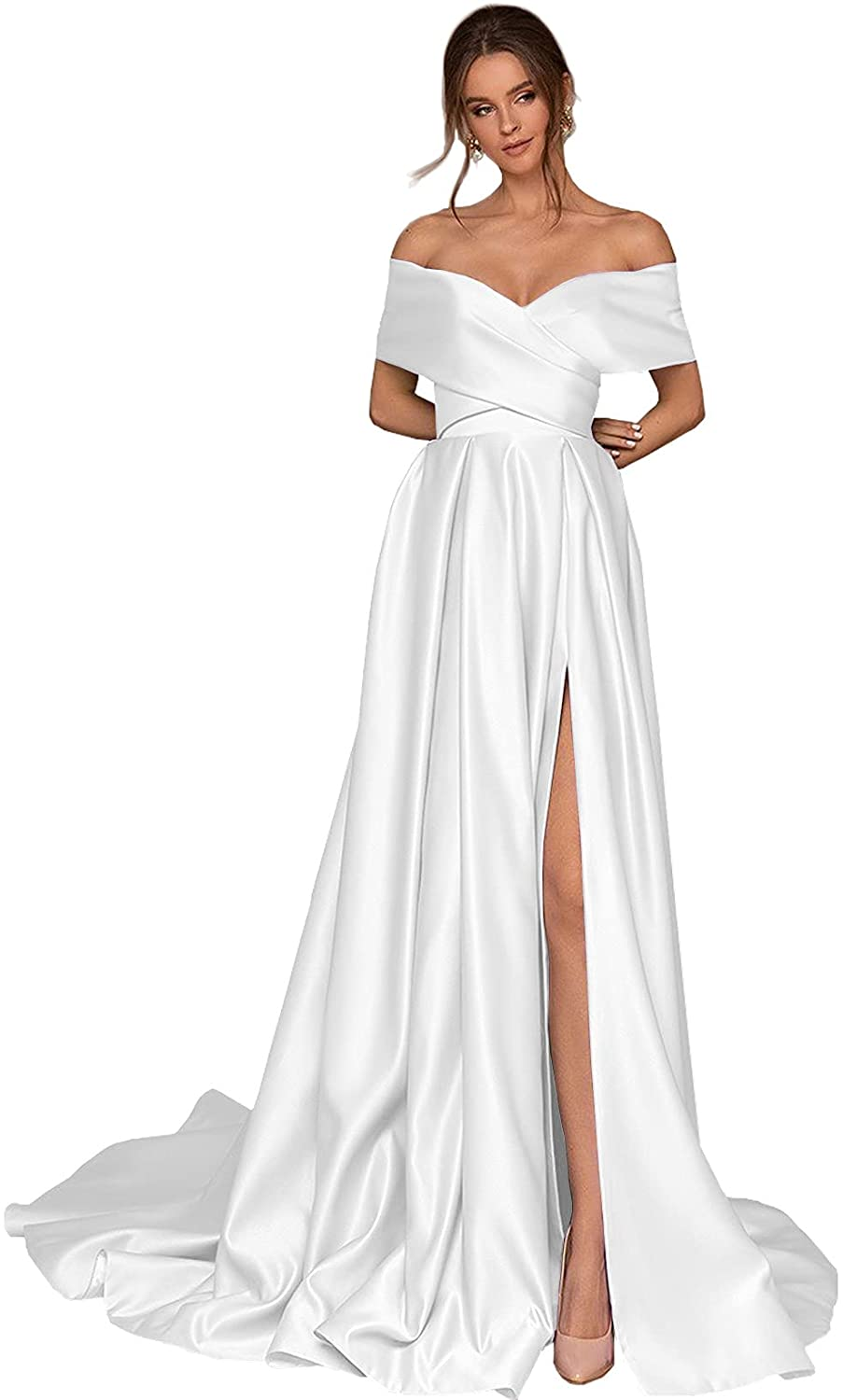 BONOYUER Women's Off The Shoulder Satin Prom Dresses High Slit A-line Long Formal Evening Gown with Pockets
