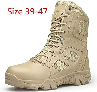 tqmaket Delta Military Tactical Boots Leather Desert Outdoor Combat Army Boots Hiking Shoes Travel Botas Male Trekking(Sand,Size 43-Foot Length 27cm)