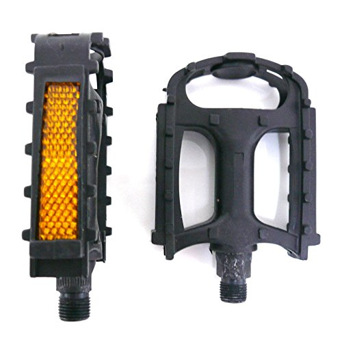 Pair of Black Plastic Resin 9/16' Bike Pedals (Fit Most Adult Bikes Mountain Road and Hybrid Bicycles)