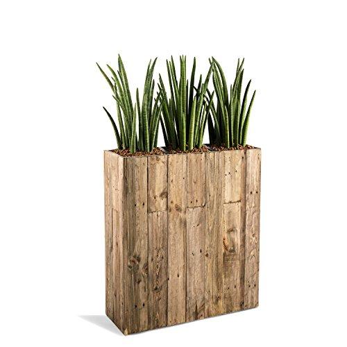 """Pflanzkübelonline Raumteiler """"Woodline High Box"""" Dark Flame Wood Rechteckig 75x66.5x24.5cm - F476"""